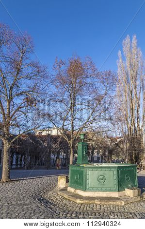 Goethe Fountain At The Frauenplatz Square