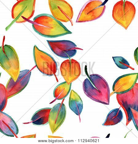 Bright Watercolor Leaves Seamless Background Pattern
