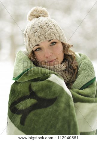 Beautiful, frozen, nice, attractive, nice, cute, young, smiling, pretty, happy girl, woman roll up, wrapped up green, warm plaid, blanket in severe, cold, snow winter, warm up, comfort, hold, sick, coverlet, scarf, cute