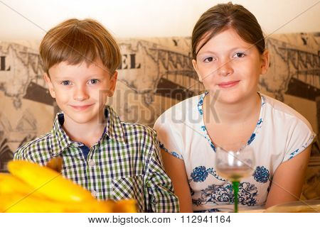 Portrait A Fullface Of The Smil Girl And The Boy