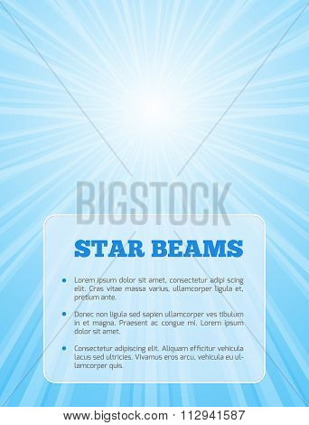 Background with shining star and transparent card in blue colors.
