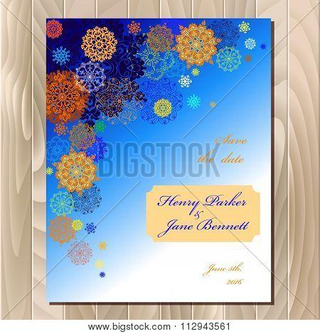 Winter snowflakes design wedding card. Vector background illustration.