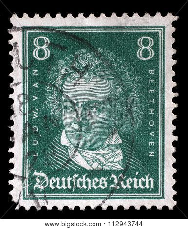 GERMAN REICH - CIRCA 1927: A stamp printed in the German Reich shows Ludwig van Beethoven, German composer and pianist, circa 1927.
