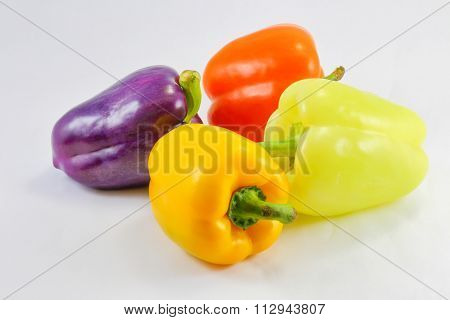 Green Orange Yellow Violet Capsicum Bell Pepper