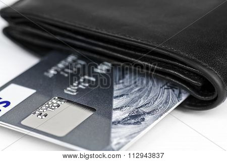 Gold Bank Card In A Purse.