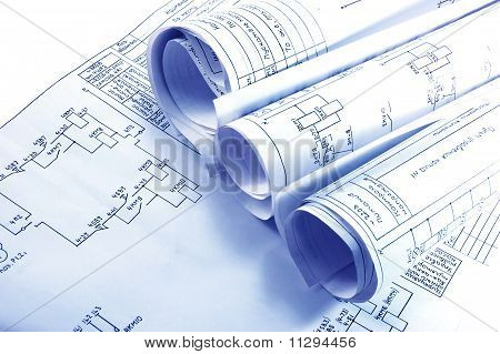 Engineering Strom Blueprint Rollen