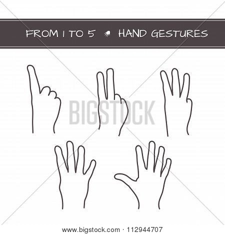 Set of isolated sketches of hands with count from 1 to 5.