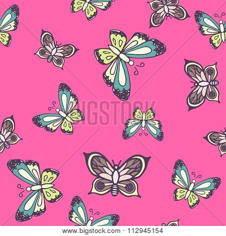Hand drawn butterfly ink doodle seamless pattern.