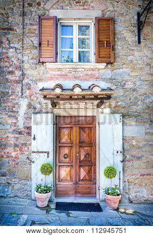 Facade Of Tuscan House
