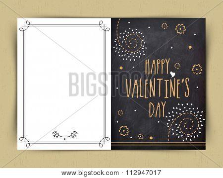 Elegant greeting card design in chalkboard style for Happy Valentine's Day celebration.