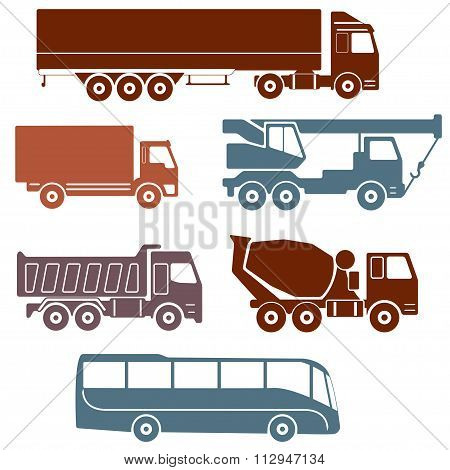 Truck icons set. Vector collection of vehicles: Concrete mixer truck, Truck crane, Dump truck.