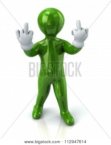 Green Man Showhing Middle Finger
