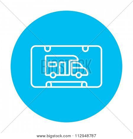 RV camping sign line icon for web, mobile and infographics. Vector white icon on the light blue circle isolated on white background.