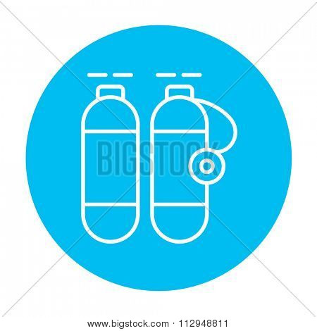 Oxygen tank line icon for web, mobile and infographics. Vector white icon on the light blue circle isolated on white background.
