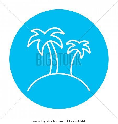 Two palm trees on an island line icon for web, mobile and infographics. Vector white icon on the light blue circle isolated on white background.