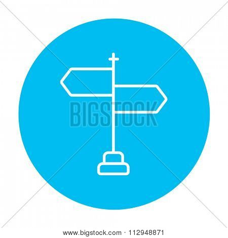 Travel traffic sign line icon for web, mobile and infographics. Vector white icon on the light blue circle isolated on white background.