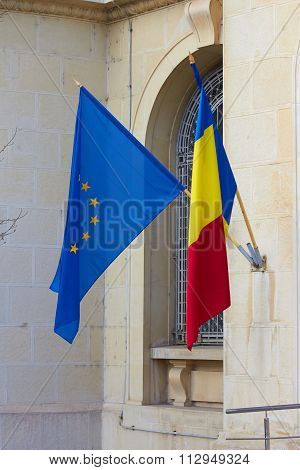 Romanian And European Union Flags