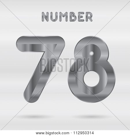 Metallic alphabet. Set of stainless 3d numbers.