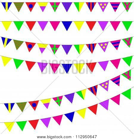 Bunting and garland set. Colorful festive flags. Vector pennant illustration.