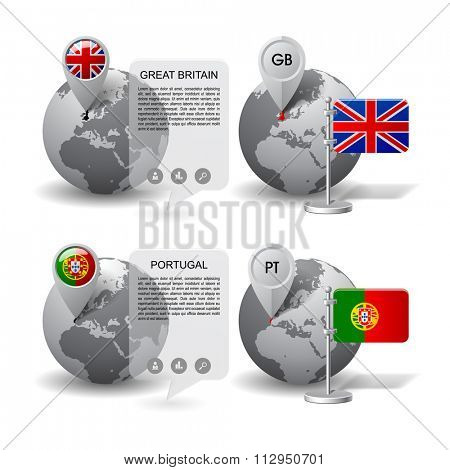 Gray globes with designation of Great Britain and Portugal location, with map markers and state table flags. Vector illustration