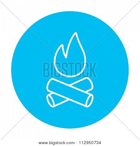 Campfire line icon for web, mobile and infographics. Vector white icon on the light blue circle isolated on white background.