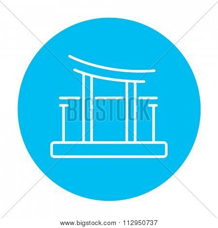 Torii gate line icon for web, mobile and infographics. Vector white icon on the light blue circle isolated on white background.