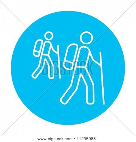 Tourist backpackers line icon for web, mobile and infographics. Vector white icon on the light blue circle isolated on white background.