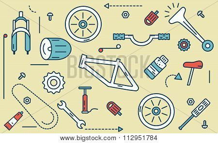 Bicycle Parts Illustration.