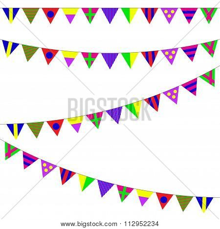 Bunting and garland set. Colorful festive flags or pennants. Vector illustration.