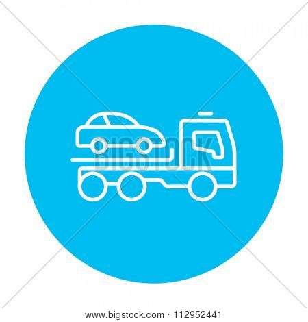 Car towing truck line icon for web, mobile and infographics. Vector white icon on the light blue circle isolated on white background.