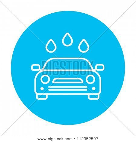 Car wash line icon for web, mobile and infographics. Vector white icon on the light blue circle isolated on white background.