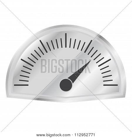 Speedometer or tachometer with arrow on metallic dashboard. Infographic gauge element.