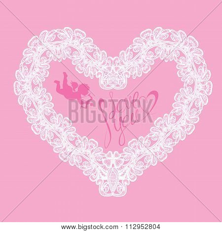 White Heart Shape Is Made Of Lace Doily On Pink Background, Holiday Card With Calligraphic Text I Lo