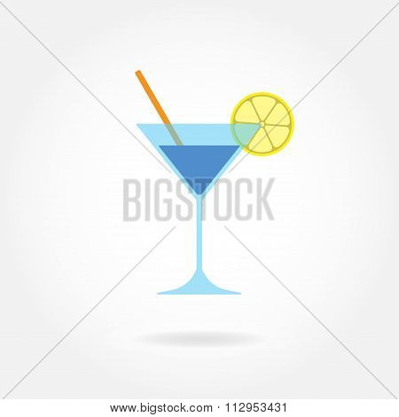 Cocktail icon. Coctail Martini glass with lemon and drinking straw. Vector.