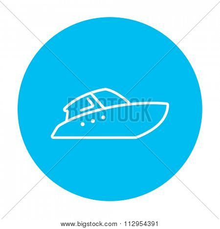 Speedboat line icon for web, mobile and infographics. Vector white icon on the light blue circle isolated on white background.