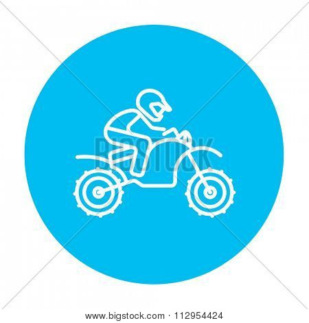 Man riding a motocross bike line icon for web, mobile and infographics. Vector white icon on the light blue circle isolated on white background.