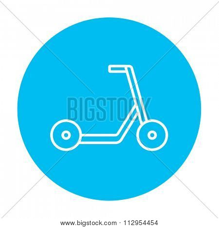 Kick scooter line icon for web, mobile and infographics. Vector white icon on the light blue circle isolated on white background.