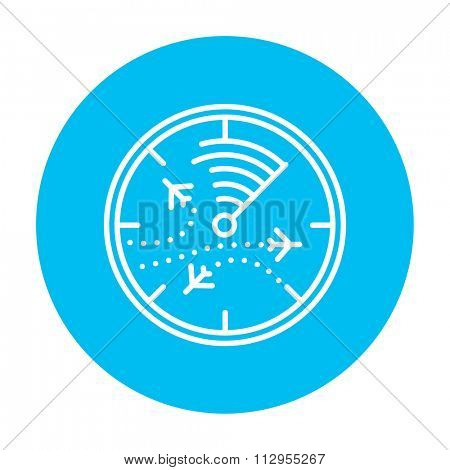 Radar screen with planes line icon for web, mobile and infographics. Vector white icon on the light blue circle isolated on white background.