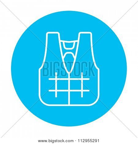 Life vest line icon for web, mobile and infographics. Vector white icon on the light blue circle isolated on white background.