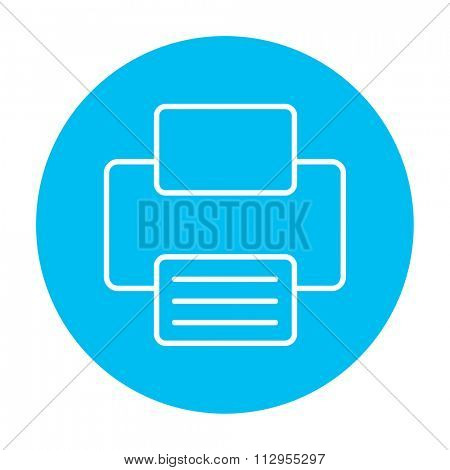 Printer line icon for web, mobile and infographics. Vector white icon on the light blue circle isolated on white background.