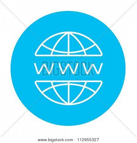 Globe internet line icon for web, mobile and infographics. Vector white icon on the light blue circle isolated on white background.