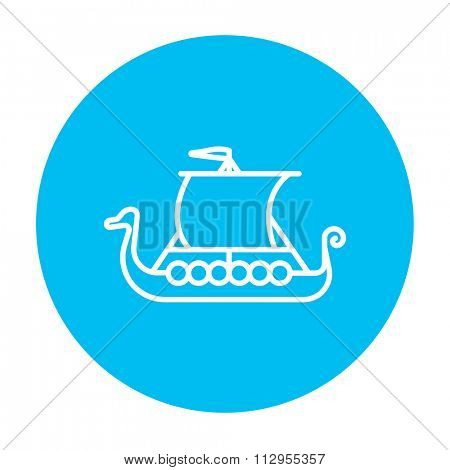 Old ship line icon for web, mobile and infographics. Vector white icon on the light blue circle isolated on white background.
