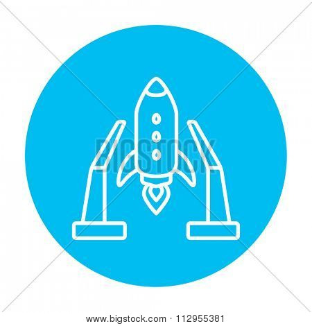 Space shuttle on a take-off area line icon for web, mobile and infographics. Vector white icon on the light blue circle isolated on white background.