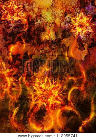 oriental ornamental mandala and color abstract background with fire flame and woman face, LAVA struc