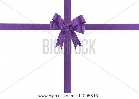 Purple Ribbon With A Bow On White Background