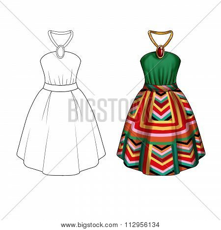 Flat Fashion Template Illustration - Party dress with collar tie and wide skirt in printed geometric