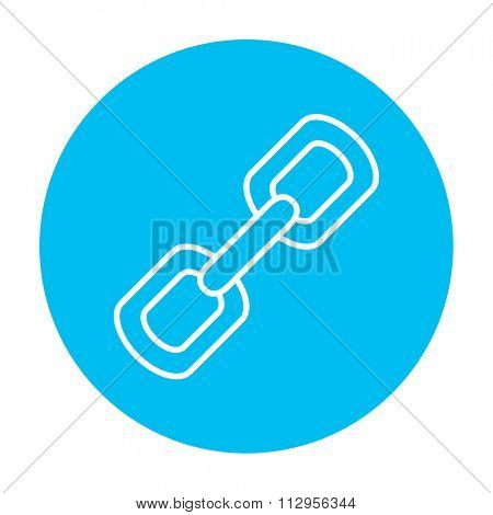 Chain links line icon for web, mobile and infographics. Vector white icon on the light blue circle isolated on white background.