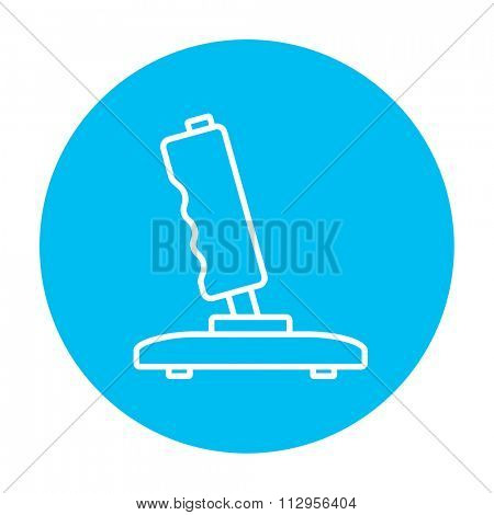Joystick line icon for web, mobile and infographics. Vector white icon on the light blue circle isolated on white background.
