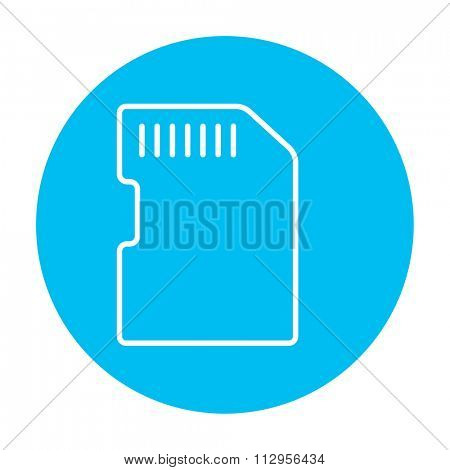 Memory card line icon for web, mobile and infographics. Vector white icon on the light blue circle isolated on white background.