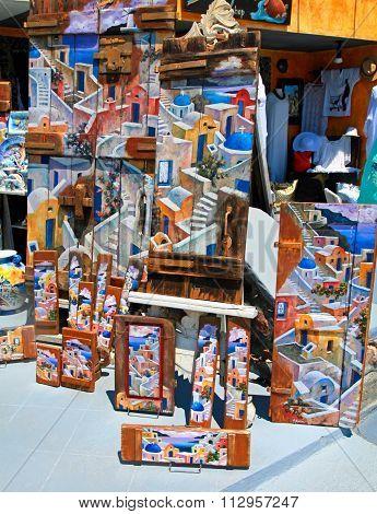 Santorini's Souvenir Shop In Oia Town, Greece